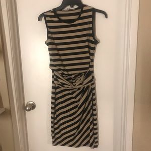 Rachel Roy Tan and Black Stripe Sleeveless Dress